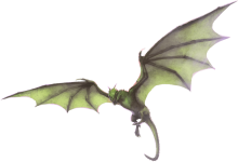 A green, two-legged dragon in flight.