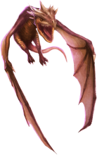 A coppery-brown dragon flying with its mouth open.