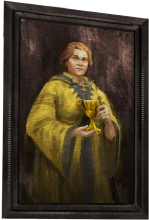 A portrait of a portly, red-haired witch in yellow robes.