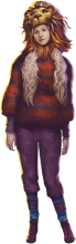 Luna wearing a red and black striped sweater and a hat shaped like a lion's head.