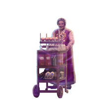 The trolley witch pushing her cart of snacks.