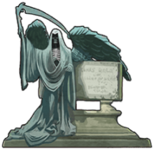 A gravestone with a statue of the Grim Reaper next to it.