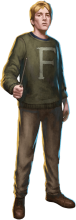 "Fred Weasley in a sweater with ""F"" on it."