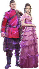 Hermione and Viktor Krum in their Yule Ball outfits.