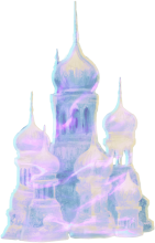An ice sculpture of Hogwarts castle
